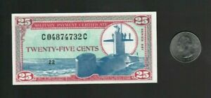 MPC Military Payment Certificate Series 681 25c Cents Note, Uncirculated