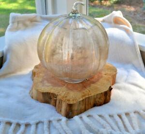 NIB Pottery Barn Linen Glass Gold Pumpkin Candle Holder Cloche Fall Decor