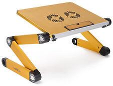 Lavolta® DJ Laptop Stand Folding Table - Adjustable Legs - Cooler Fan - Yellow