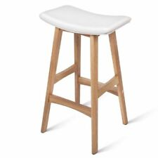 2x Oak Wood Bar Stools Wooden Dining Chairs Kitchen Side Padded White 3629