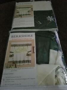 """Berkshire Embellished Cottage Set 58""""x24"""" & Tailored Tier Pair/58""""x36""""  NEW"""