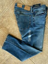 Polo Ralph Lauren Mens Jeans 40 x 30 Thompson Relaxed Fit Stretch Med Denim NWT