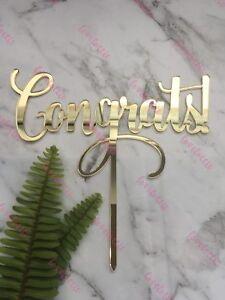 Congrats Acrylic Gold Mirror Graduation Party Cake Topper