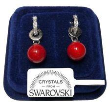 Orecchini Perla Rossa donna pl. oro Bianco 18K con cristalli swarovski SW/11