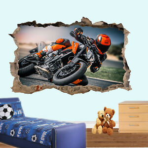 SUPER COOL DUKE MOTORBIKE WALL STICKERS 3D ART MURAL ROOM OFFICE SHOP DECOR TG3