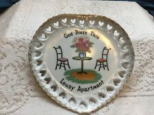 "Vintage Norcrest Heart Shaped Plate Lace Edging ""God Bless This Lousy Apartment"""