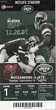 2013 NEW YORK JETS VS TAMPA BAY BUCCANEERS TICKET STUB 9/8/13 GENO SMITH DEBUT