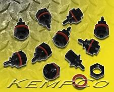 """(10) 1/8"""" Hose Barb Nylon Thru-Panel Straight Adapter Fitting w/ Nut and Washer"""