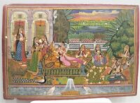 Handmade Mughal Miniature Painting Indian King And Queen Enjoying With Music