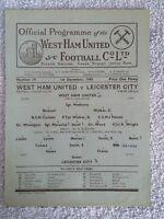 1945 - WEST HAM UTD v LEICESTER CITY PROGRAMME - FOOTBALL LEAGUE SOUTH - 45/46