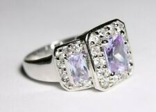 Sterling Silver Ring Size 8 Purple Gems
