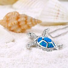 Cute Delicate Blue Turtle Necklace Pendant