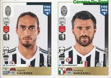 556-557 MARTIN CACERES ANDREA BARZAGLI JUVENTUS FIFA 365 PANINI