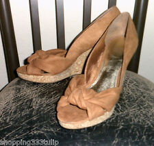H&M Tan Brown Suede Fabric Sz 9M Knotted Peep Toe Cork Wedge Heels EUC