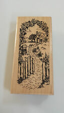 "Cottage Patch Rubber stamp N18 Stampendous 1989 Cabin Flowers Fence Well 4"" tall"