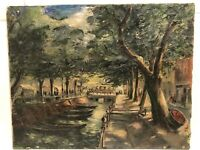 """Early 1900's Signed French Impressionist Painting """" Figures ,boats On The River"""""""