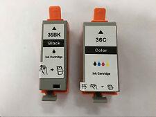 2x Ink Cartridge PGI 35 CLI 36 PGI-35BK CLI-36C for Canon iP110 Mini360 Printer