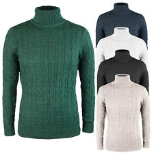 Maglia uomo collo alto Maglione Pullover Dolcevita Blu Verde Nero Bianco Fango