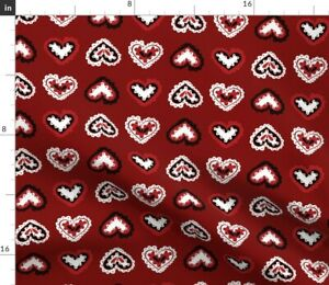 Red Cookie Cutter Hearts Lace Folk Valentines Day Spoonflower Fabric by the Yard