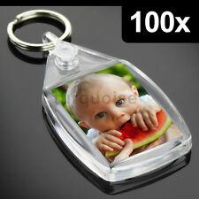 100x Clear Acrylic Blank Keyrings Key Fobs 35 x 24 mm | Small Size Photo