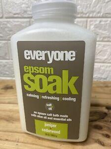 Everyone Epsom Soak Juniper Cedarwood Salt Bath w/ Essential Oils 30oz NEW