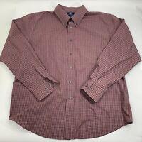 Dockers Mens Dress Shirt Size XL 17 17.5 Red Plaid Long Sleeve Button Down