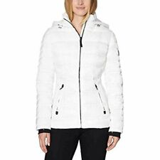 Nautica Women's Water Resistant Puffer Jacket Parka Coat, White M