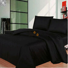 Black Duvet Doona Quilt Cover Set Single/King/Double/Queen Size Bed Pillowcases