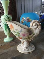 Nautilus Shell Hand Painted Flowers Pedestal pottery vase.