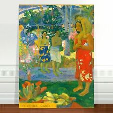 "Paul Gaugin Village Women ~ FINE ART CANVAS PRINT 24x18"""