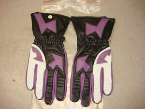 PURPLE WHITE BLACK LEATHER ROAD RACE RIDING GLOVES MEDIUM AHRMA VINTAGE NINJA