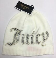 NWT Juicy Couture Black Label Beanie Hat Cap Ivory White Womens OS