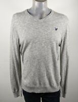 American Eagle Grey V Neck 100% Cotton Sweater Jumper Large