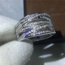 Women Handmade Cross Jewelry White/Yellow Gold Filled Weding Ring Gift Size 5-10