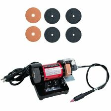 "Mini Bench Grinder with 3 Sets 3"" Grinding and Fiber Wheels"