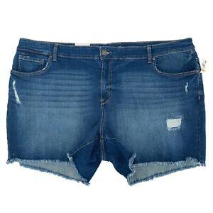 "Style & Co Women Shorts, NEW Mid Rise Ripped Raw Hem Denim 5"" Inseam, Size 24W"