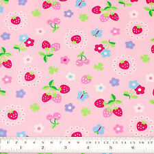 Cotton Fabric per FQ Kawaii Daisy Ditsy Flower Strawberry Cherry Butterfly VK112