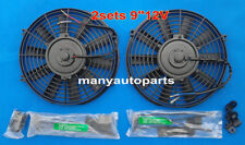 "2sets for 9"" Universal Electric Radiator RACING COOLING Fan + mounting kit"