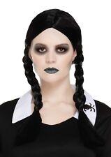 Halloween Siniestro hija ADDAMS peluca negra trenza adulto elegante Disfraz
