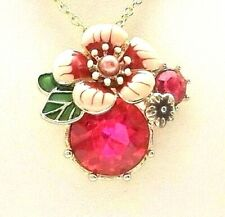 ROSE PINK CRYSTAL &  ENAMEL MINI FLOWER PENDANT NECKLACE New