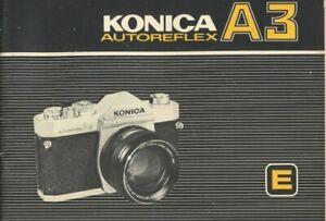 Konica Autoreflex A3 Instruction Manual Original