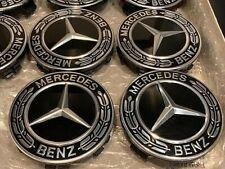 Original Mercedes Benz Radnaben Radkappen Deckel Embleme Radababdeckung Schwarz