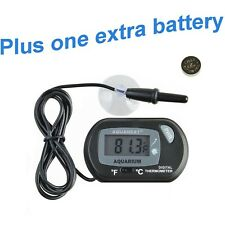 Aquaneat Aquarium Digital Thermometer Fish Tank Water Terrarium Black Free Extra
