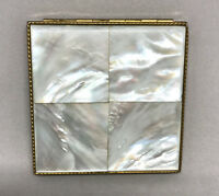 Rex Fifth Avenue Powder Compact Mother of Pearl 1940s MOP Tiles 3in Signed Vtg