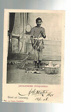1908 Netherlands Indies real picture postcard Cover 2 Czechoslovakia Man w broom