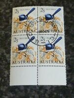 AUSTRALIA POSTAGE STAMP SG367A 2/5 BLOCK OF 4 MARGINAL SUPERB USED
