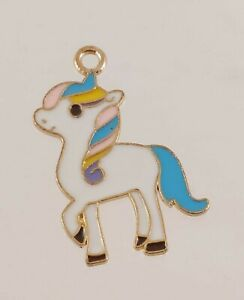Metal Enamel Fantasy Pony Rainbow Hair Pendant Charm ONLY 2.5cm Tall