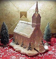 Vintage Lighted Church Ceramic Christmas Village Musical Steeple Byron Mold 1975