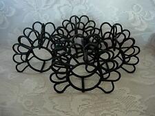 Set of 4 Black Wrought Iron Metal Turkey Shaped Napkin Rings