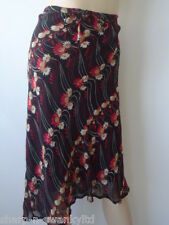 ☆ PER UNA Ladies Black/Beige/Red Print Knee Length Lined Skirt UK 10 EU 38 ☆
